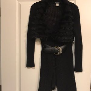 Venus Black Belted Faux Fur Sweater